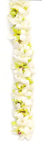 Double Green White Orchid   | Wedding Leis For Women