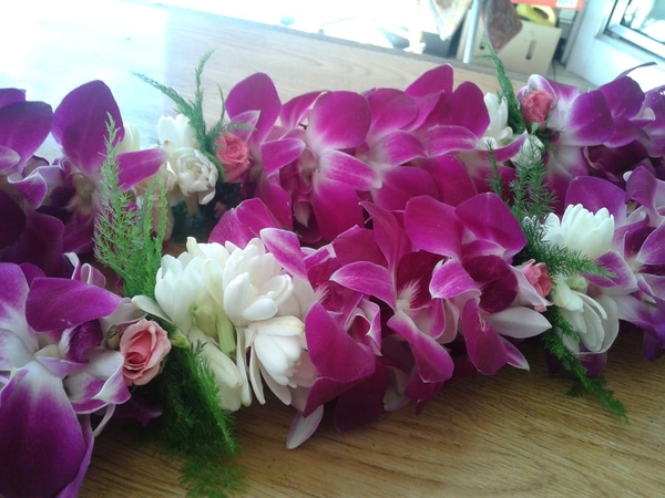 Double Tuberose & Purple Orchid Mix | Wedding Leis For Women