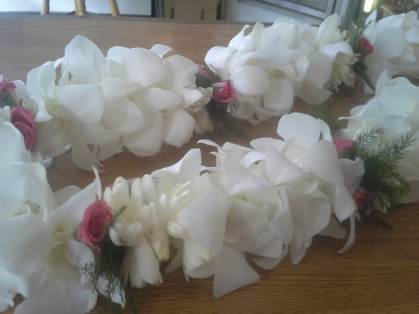 Double White Orchid with Tuberose & Rose | Wedding Leis for Wahine (Women)