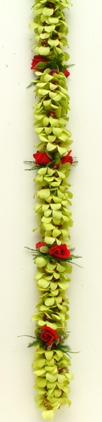 Double Green Orchid & Rose Lei | Specialty Orchid Leis